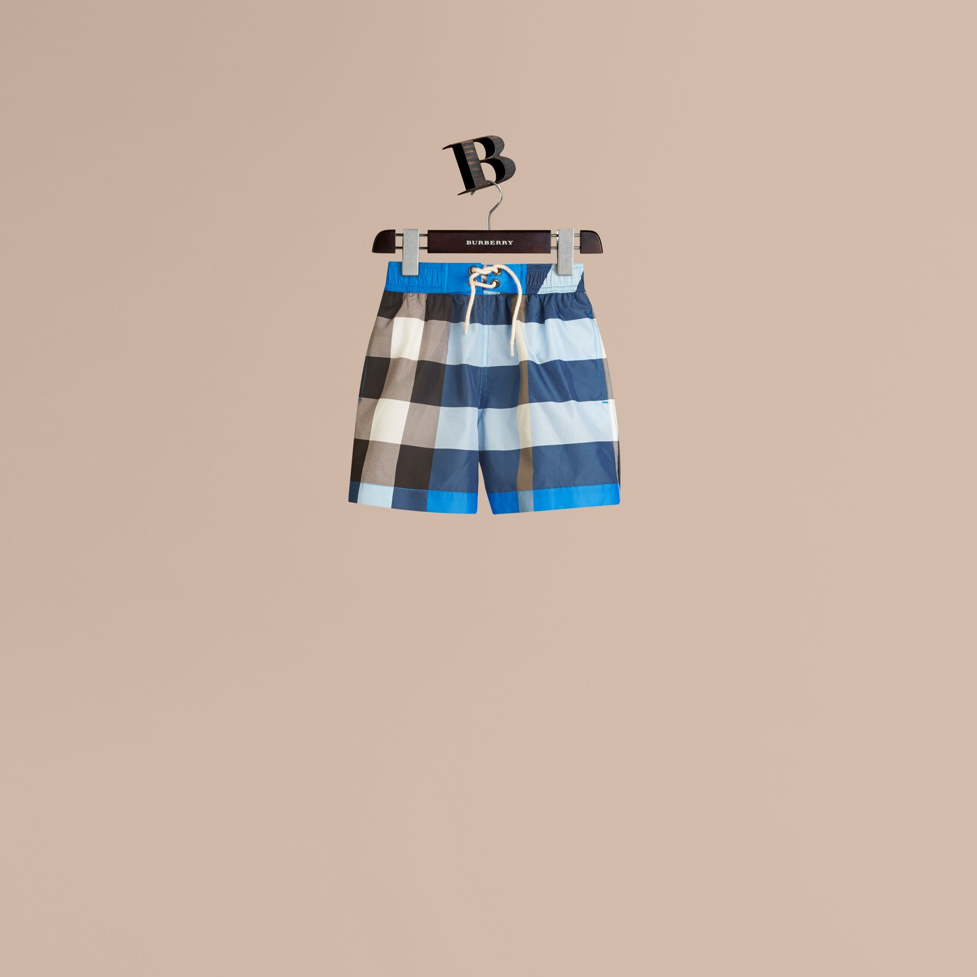 Check Swim Shorts in Cerulean Blue - Boy | Burberry - gallery image 1