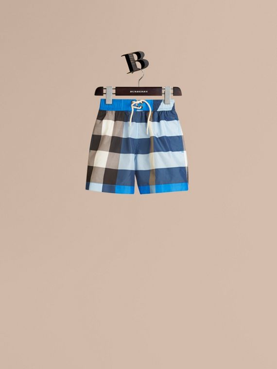Check Swim Shorts in Cerulean Blue - Boy | Burberry Canada