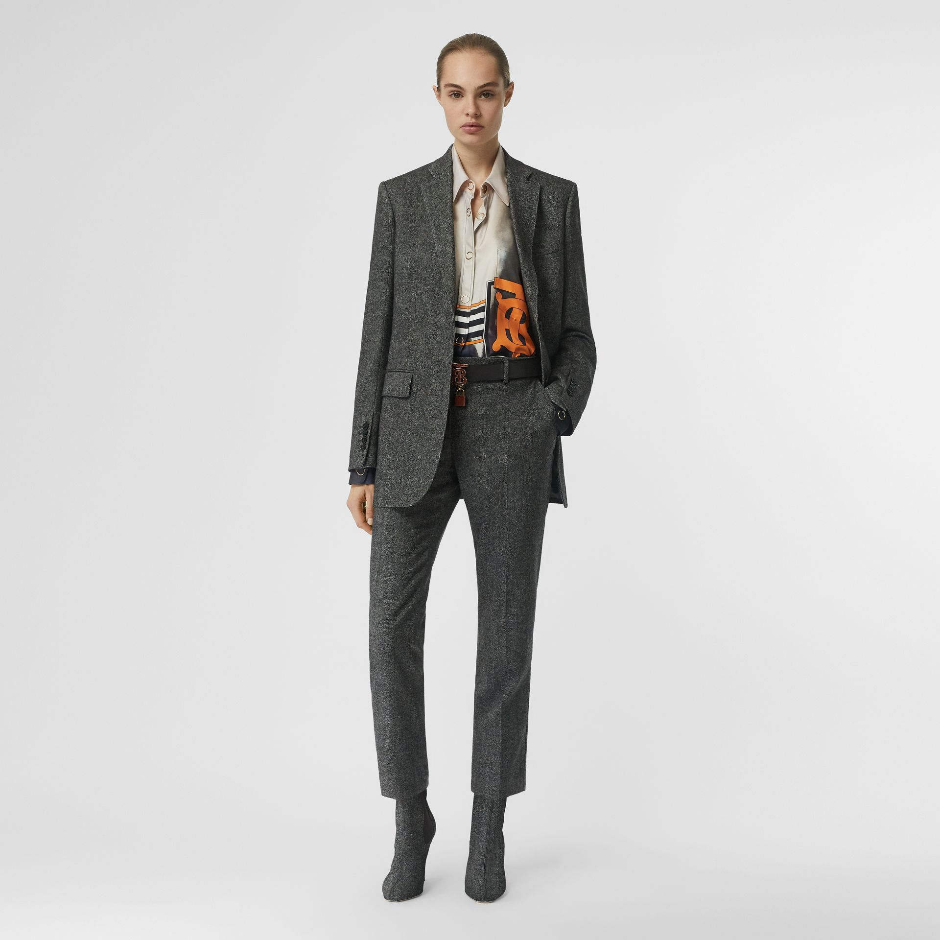 Wool Cashmere Tweed Tailored Jacket in Black Melange - Women | Burberry - gallery image 0