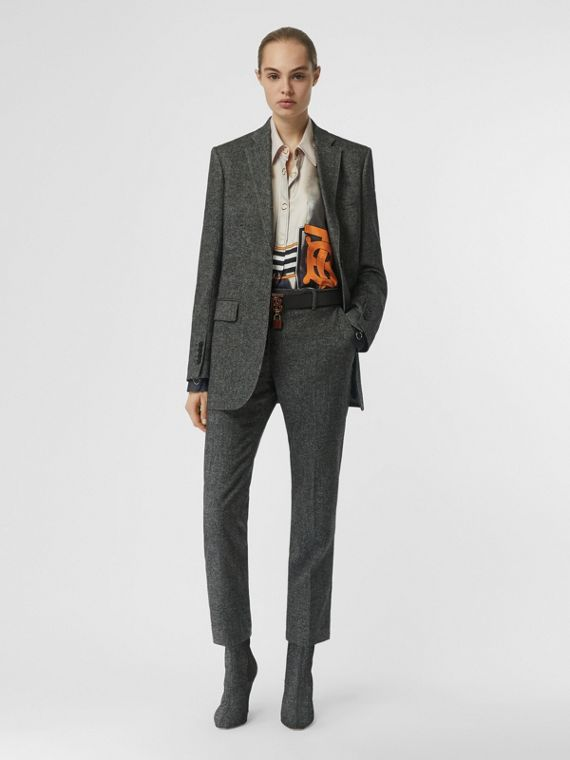 Wool Cashmere Tweed Tailored Jacket in Black Melange