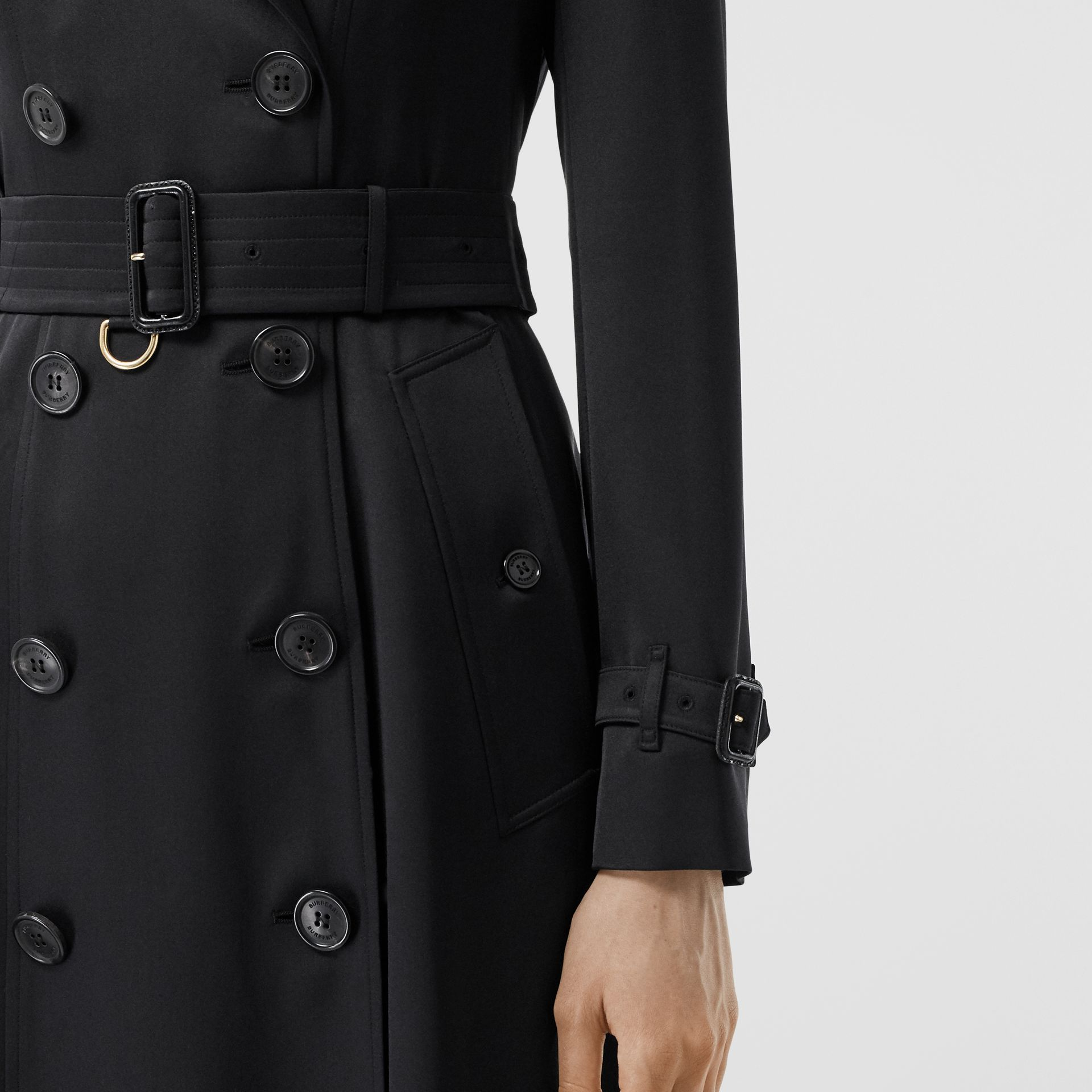 Silk Satin Trench Coat in Black - Women | Burberry - gallery image 4
