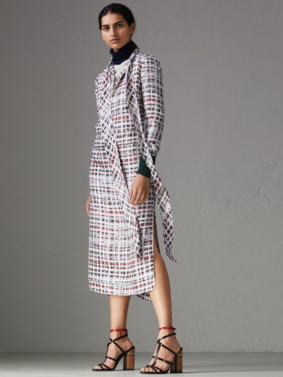 Tie-neck Scribble Check Silk Dress in Cadmium Red