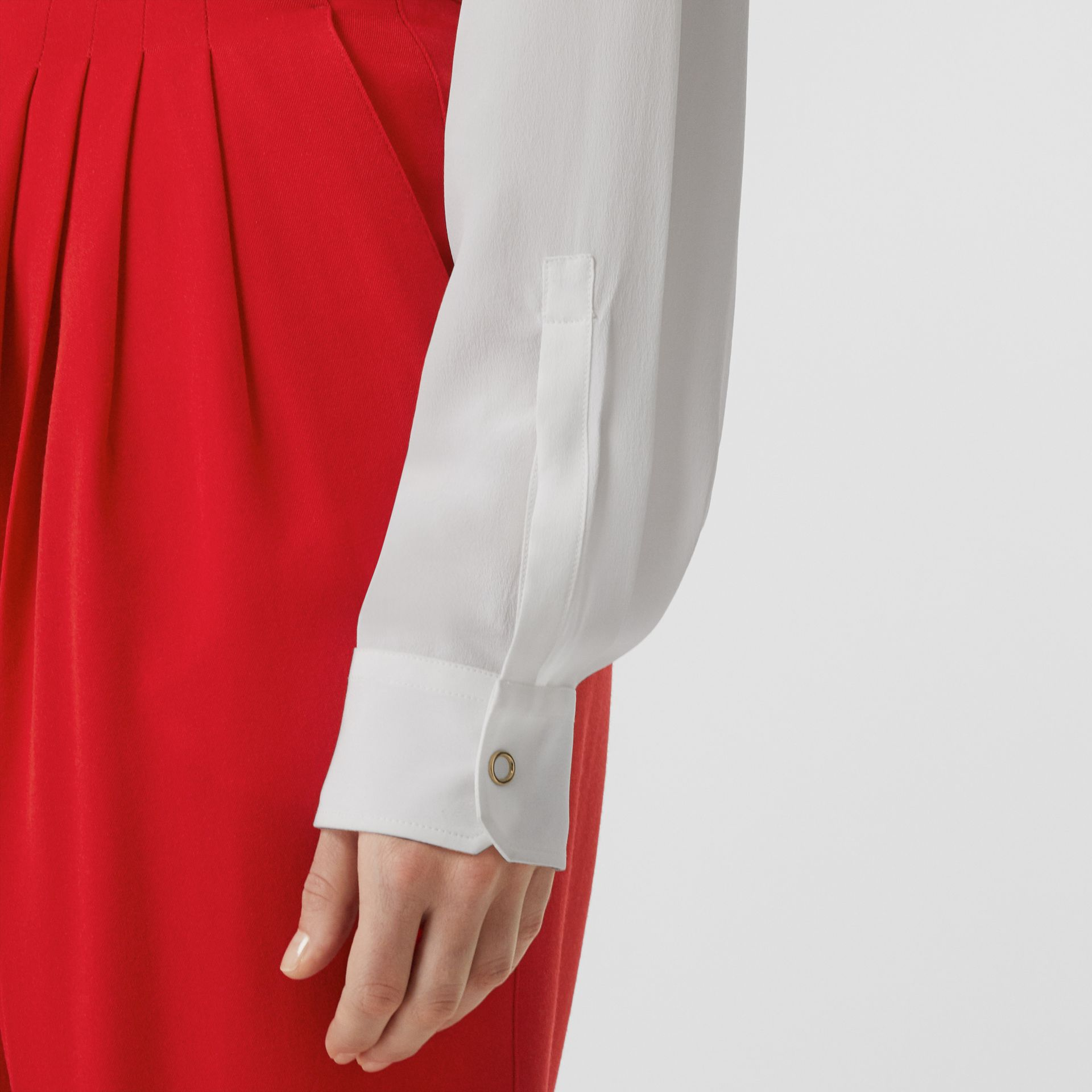 Press-stud Silk Crepe De Chine Shirt in White - Women | Burberry - gallery image 4