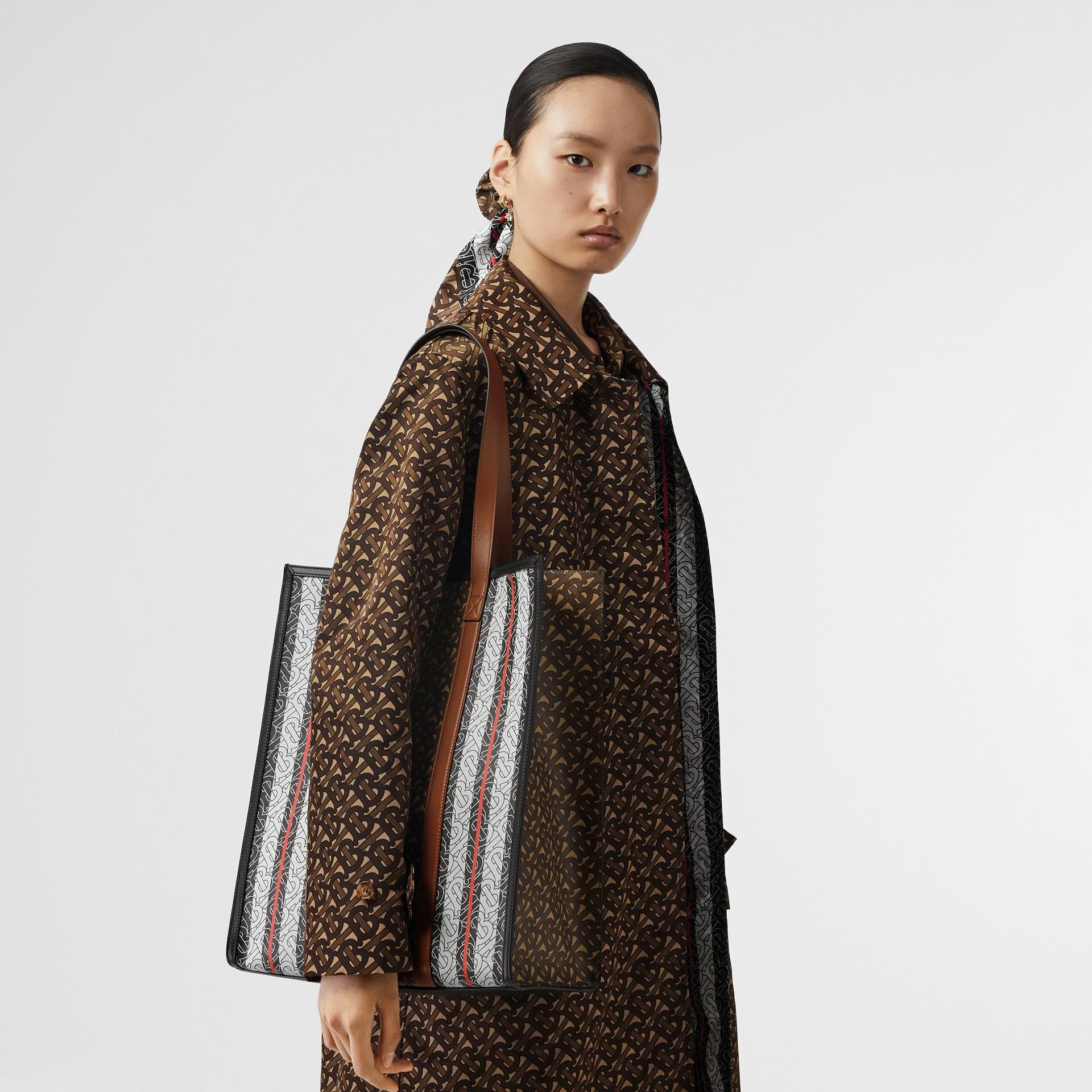 Monogram Stripe E-canvas Portrait Tote Bag in Bridle Brown - Women | Burberry - gallery image 10