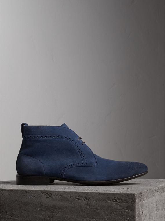 Brogue Detail Suede Desert Boots in Petrol Blue
