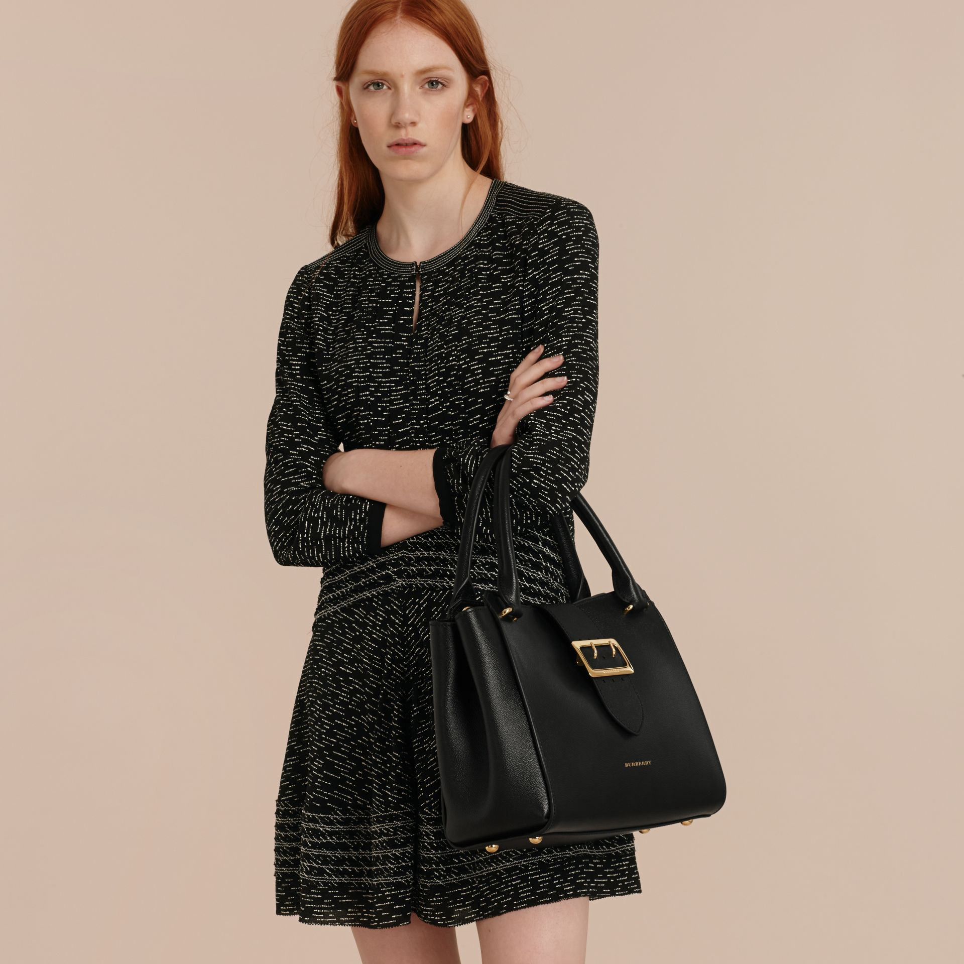 Black The Medium Buckle Tote in Grainy Leather Black - gallery image 3