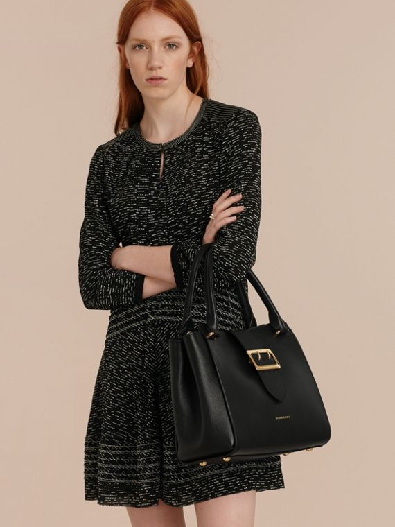 Black The Medium Buckle Tote in Grainy Leather Black - cell image 2