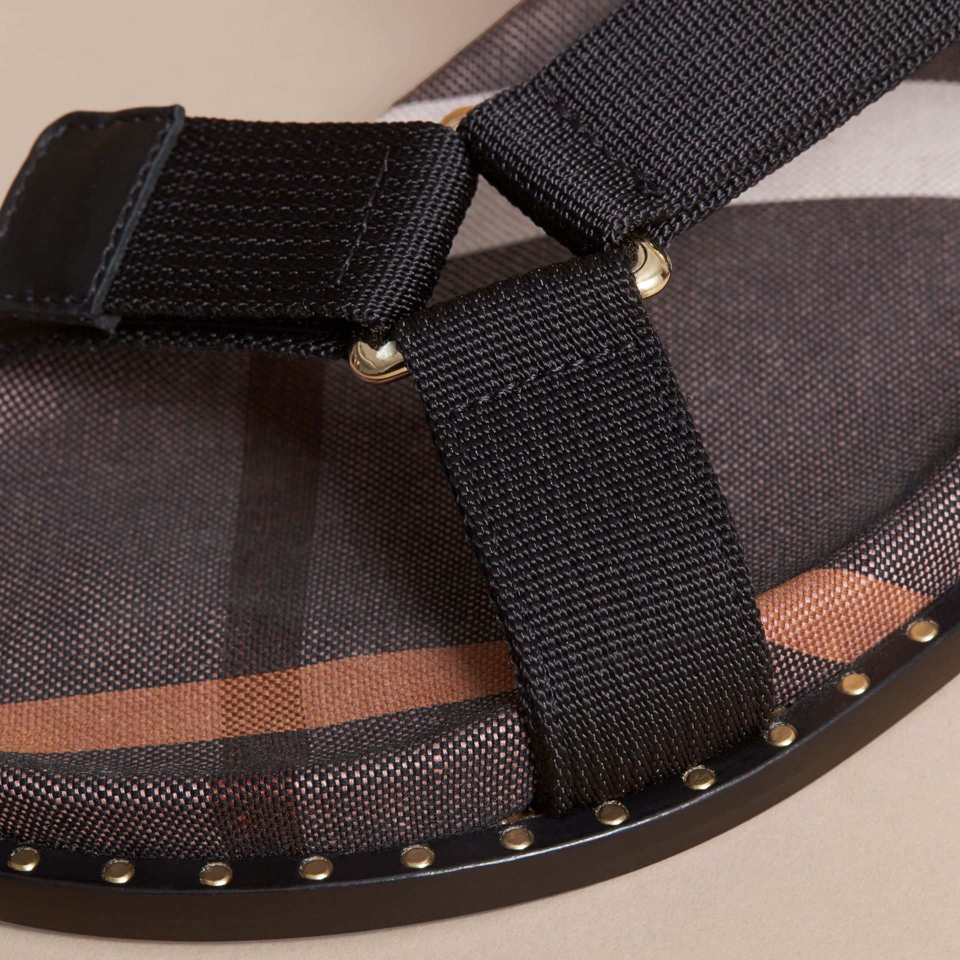 Hardware Detail Check Three-point Strap Ripstop Sandals in Antique Rose - Women | Burberry Canada - gallery image 5