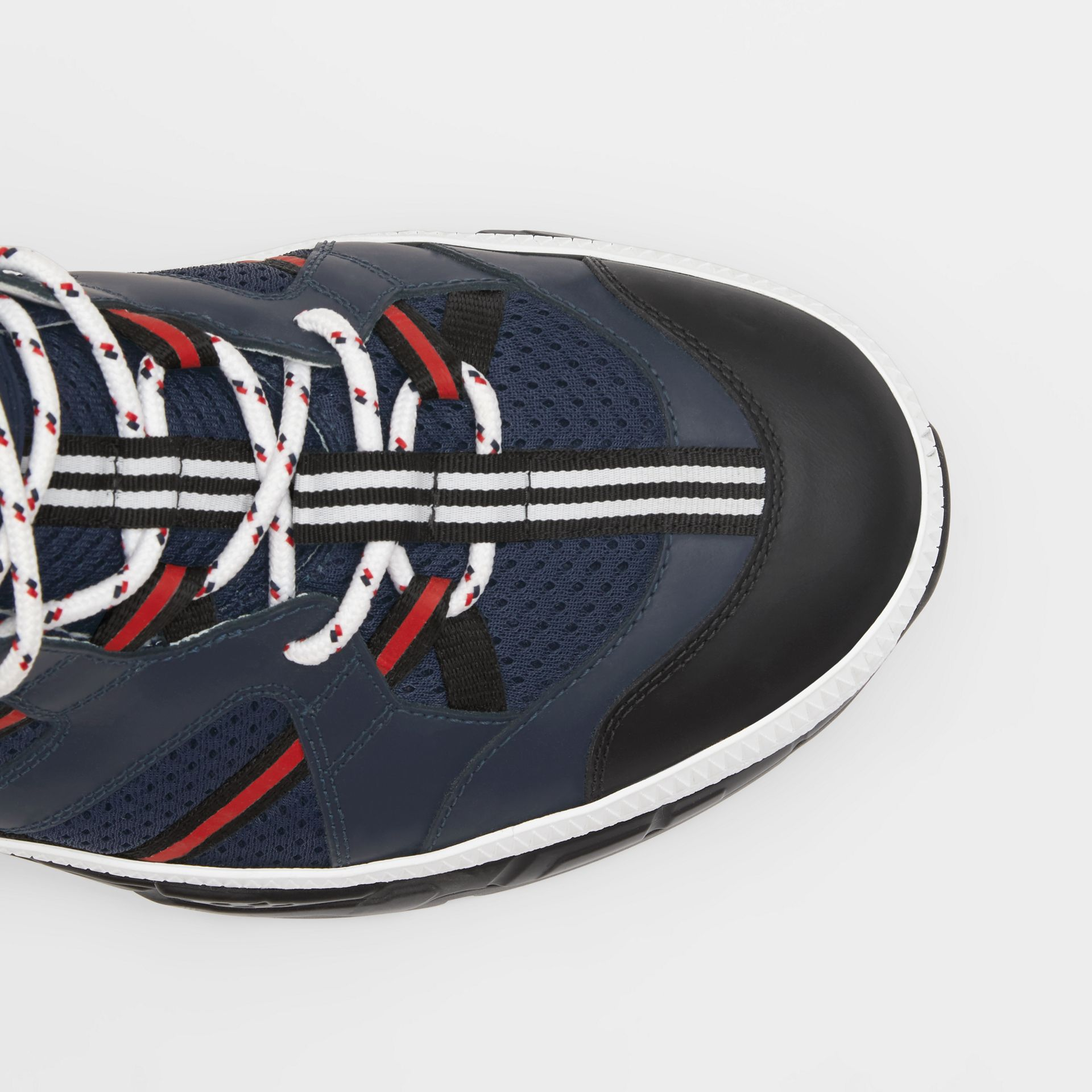 Leather and Mesh Union Sneakers in Navy - Men | Burberry - gallery image 1