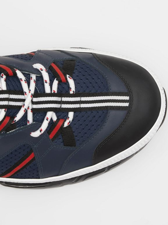 Leather and Mesh Union Sneakers in Navy - Men | Burberry - cell image 1