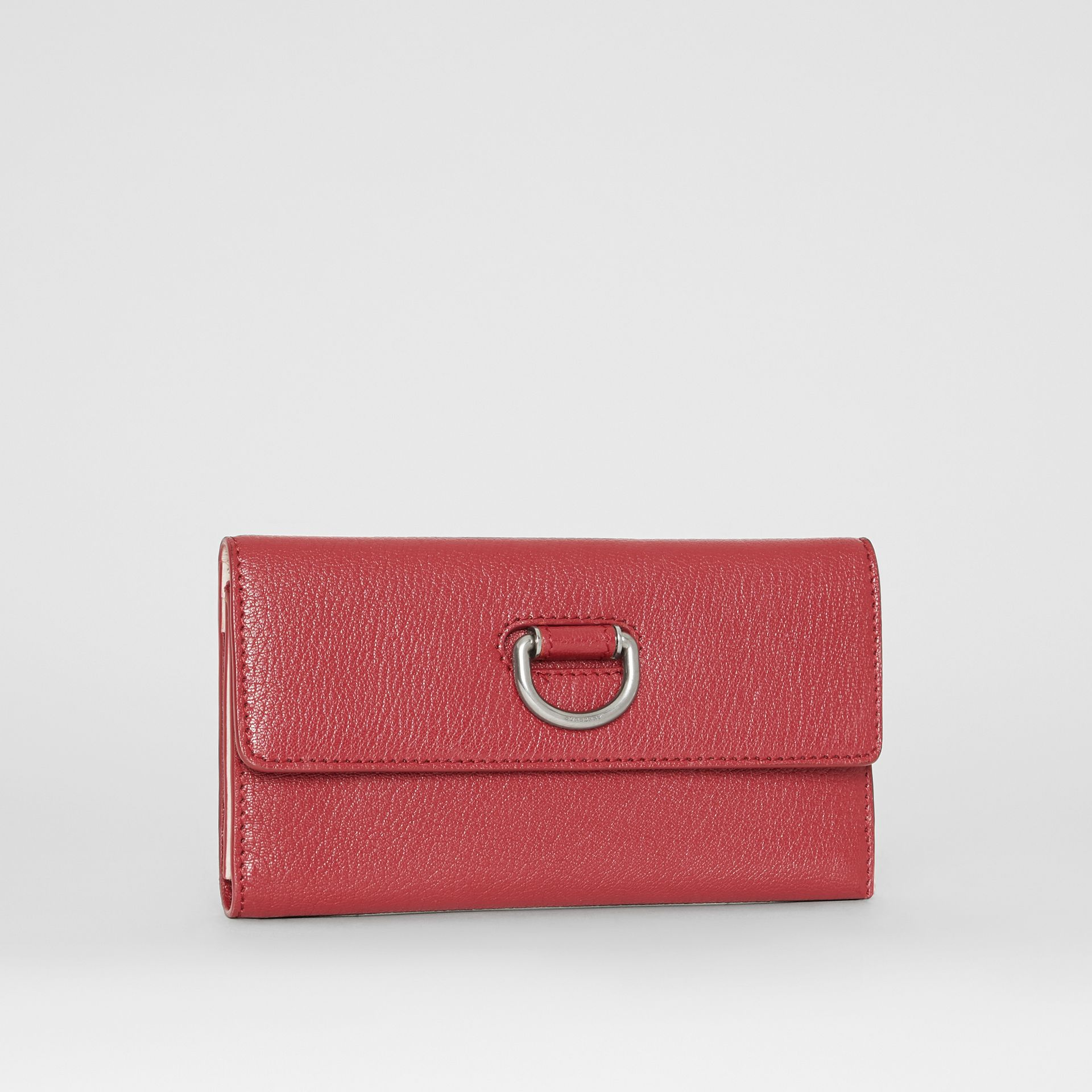 D-ring Grainy Leather Continental Wallet in Crimson - Women | Burberry - gallery image 3
