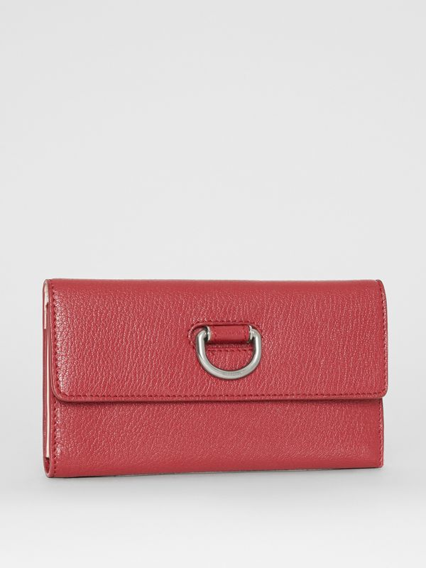 D-ring Grainy Leather Continental Wallet in Crimson - Women | Burberry - cell image 3