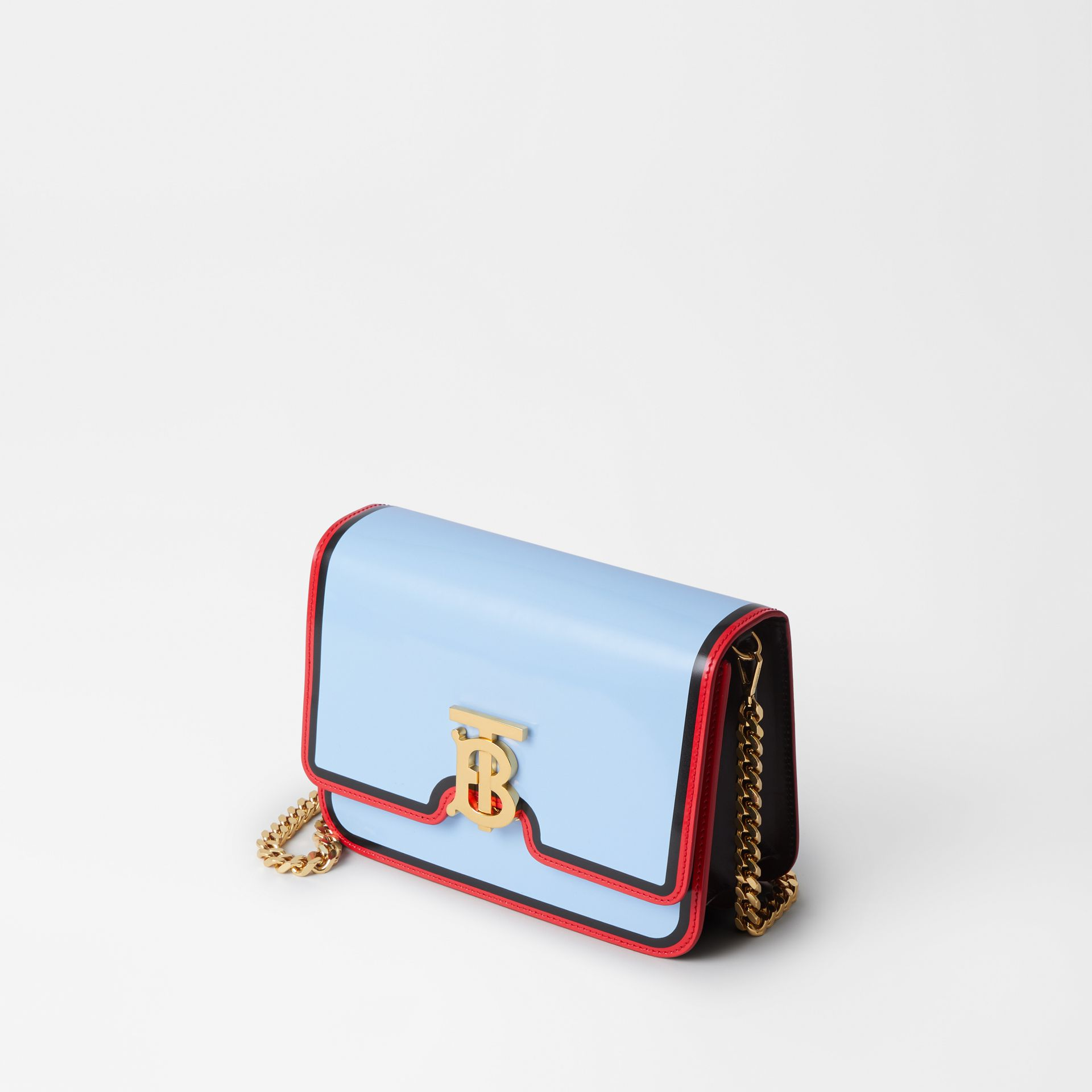 Small Painted Edge Leather TB Bag in Pale Blue - Women | Burberry - gallery image 3