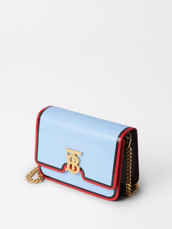 Small Painted Edge Leather TB Bag in Pale Blue - Women | Burberry - cell image 3