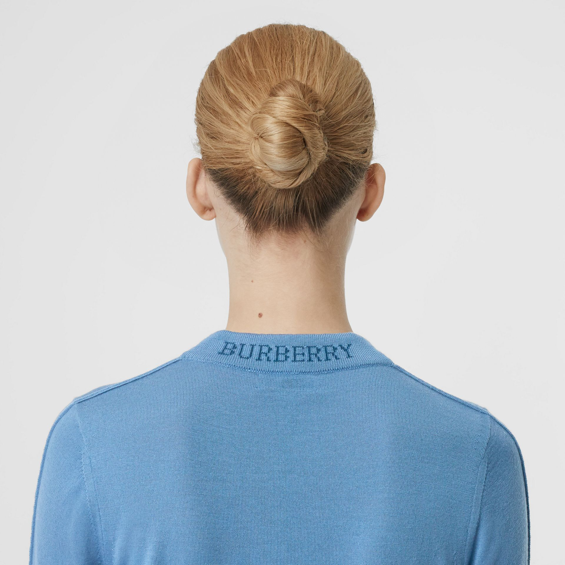 Logo Detail Merino Wool Sweater in Pebble Blue - Women | Burberry - gallery image 1