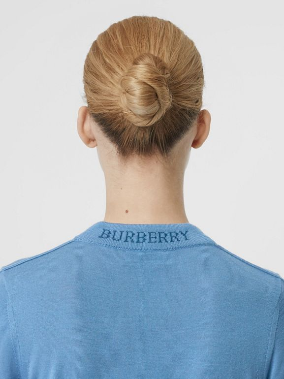 Logo Detail Merino Wool Sweater in Pebble Blue - Women | Burberry - cell image 1