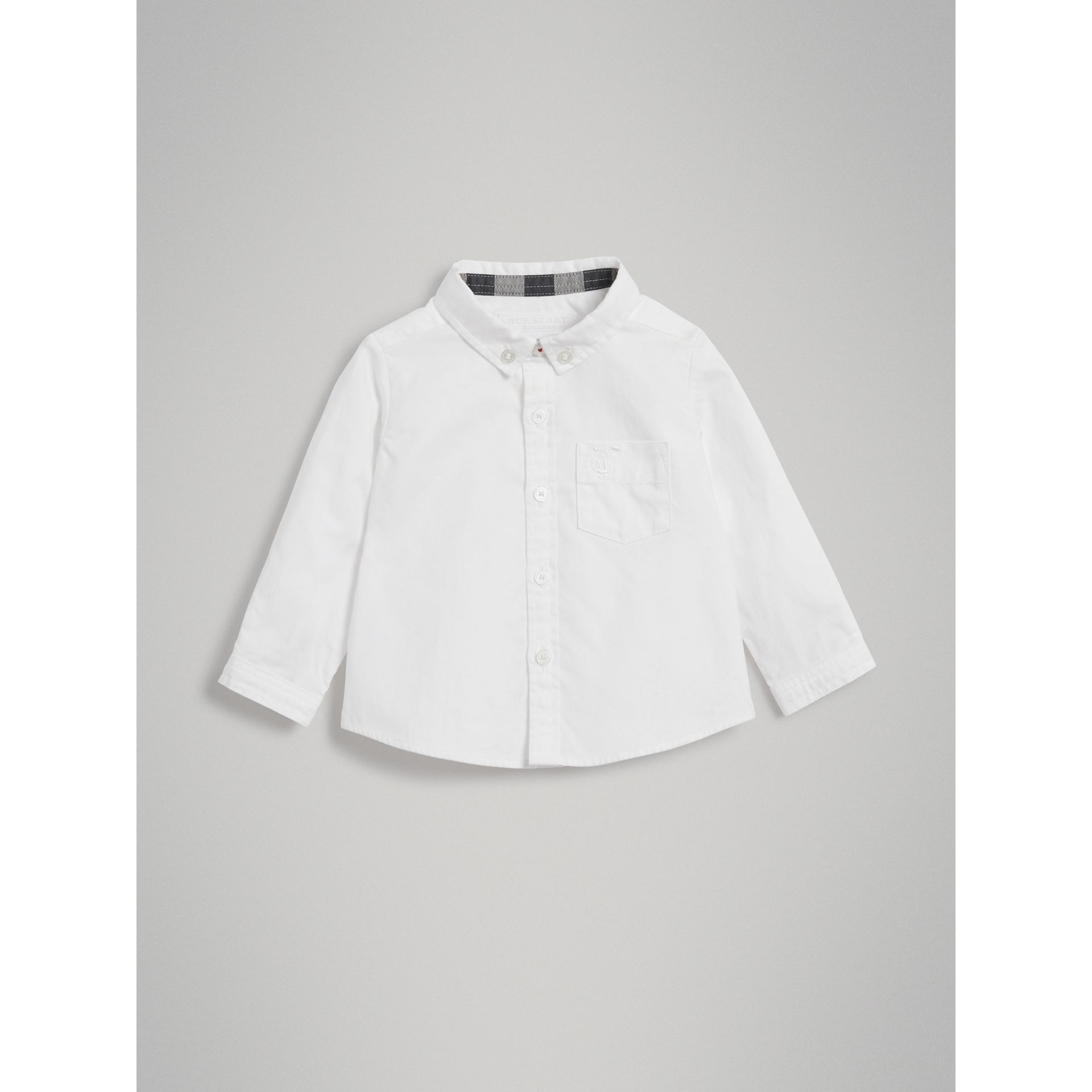 Cotton Oxford Shirt in White | Burberry Australia - gallery image 0