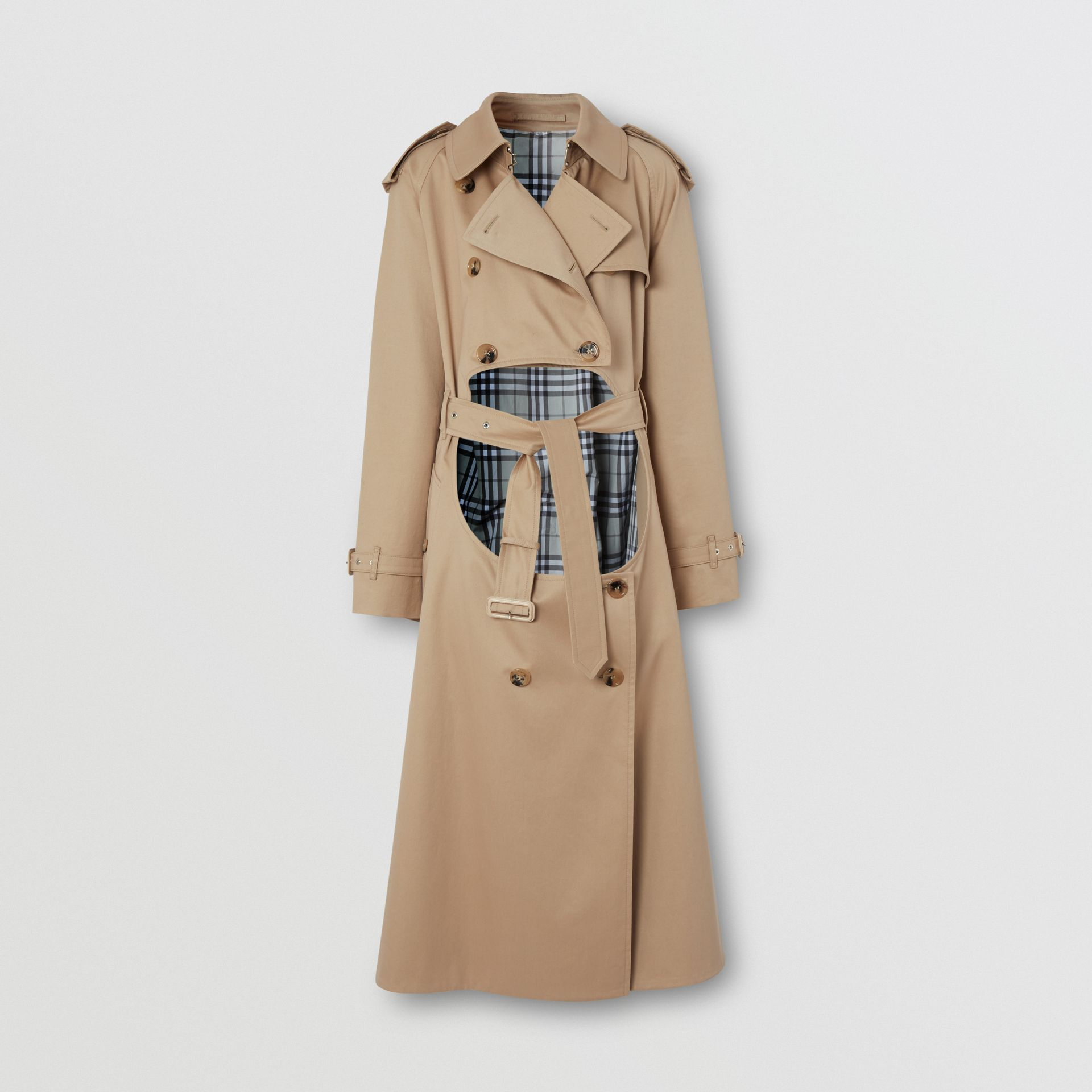 Cotton Gabardine Step-through Trench Coat in Soft Fawn - Women | Burberry Australia - gallery image 3