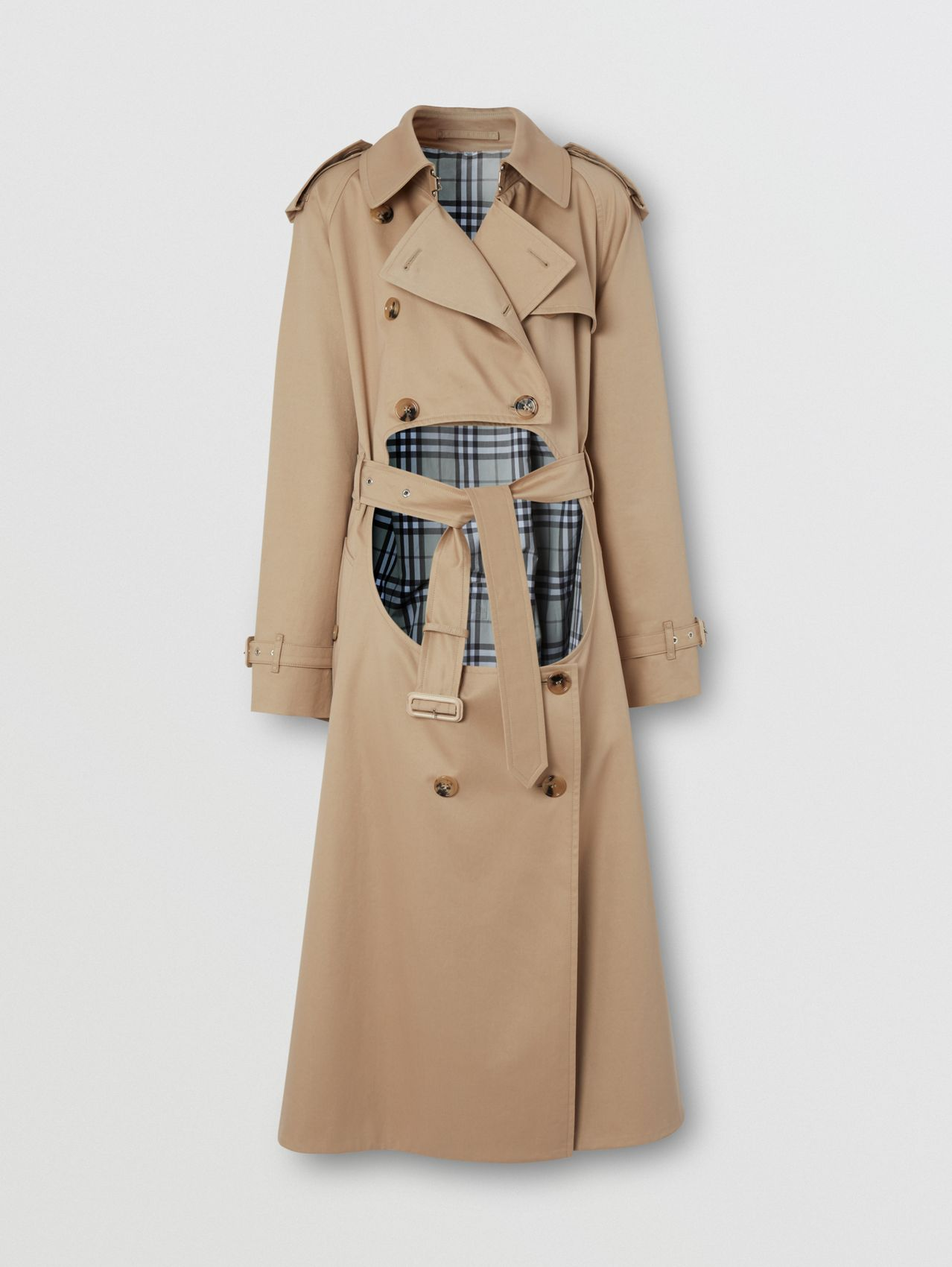 Cotton Gabardine Step-through Trench Coat in Soft Fawn