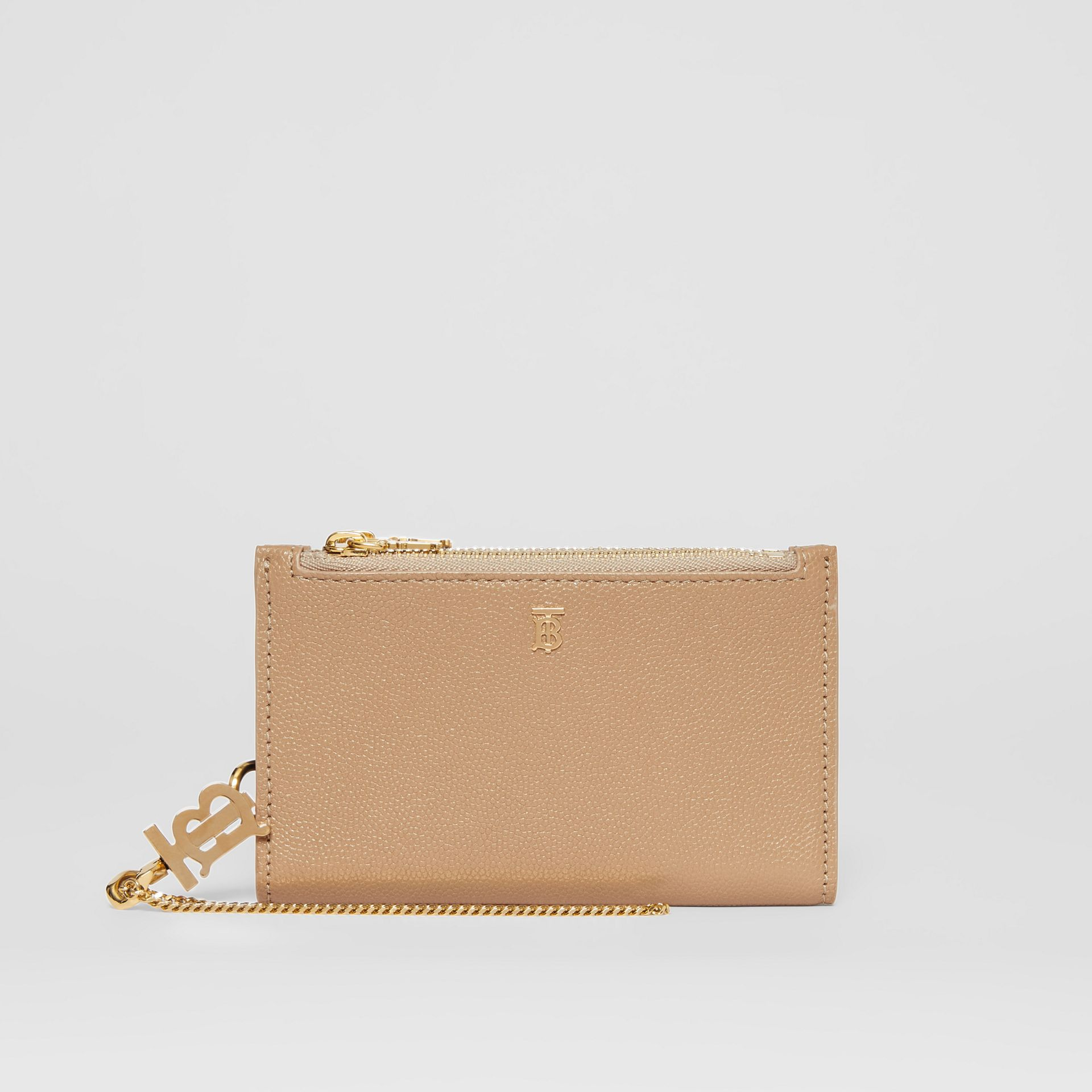 Monogram Motif Grainy Leather Wallet with Detachable Strap in Archive Beige - Women | Burberry - gallery image 0