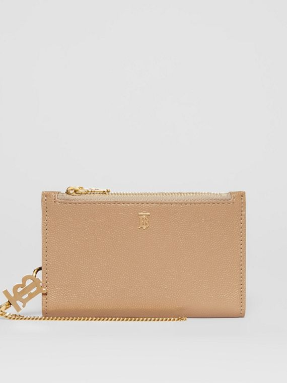 Monogram Motif Grainy Leather Wallet with Detachable Strap in Archive Beige