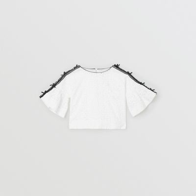 Lace Trim Embroidered Cotton Top by Burberry
