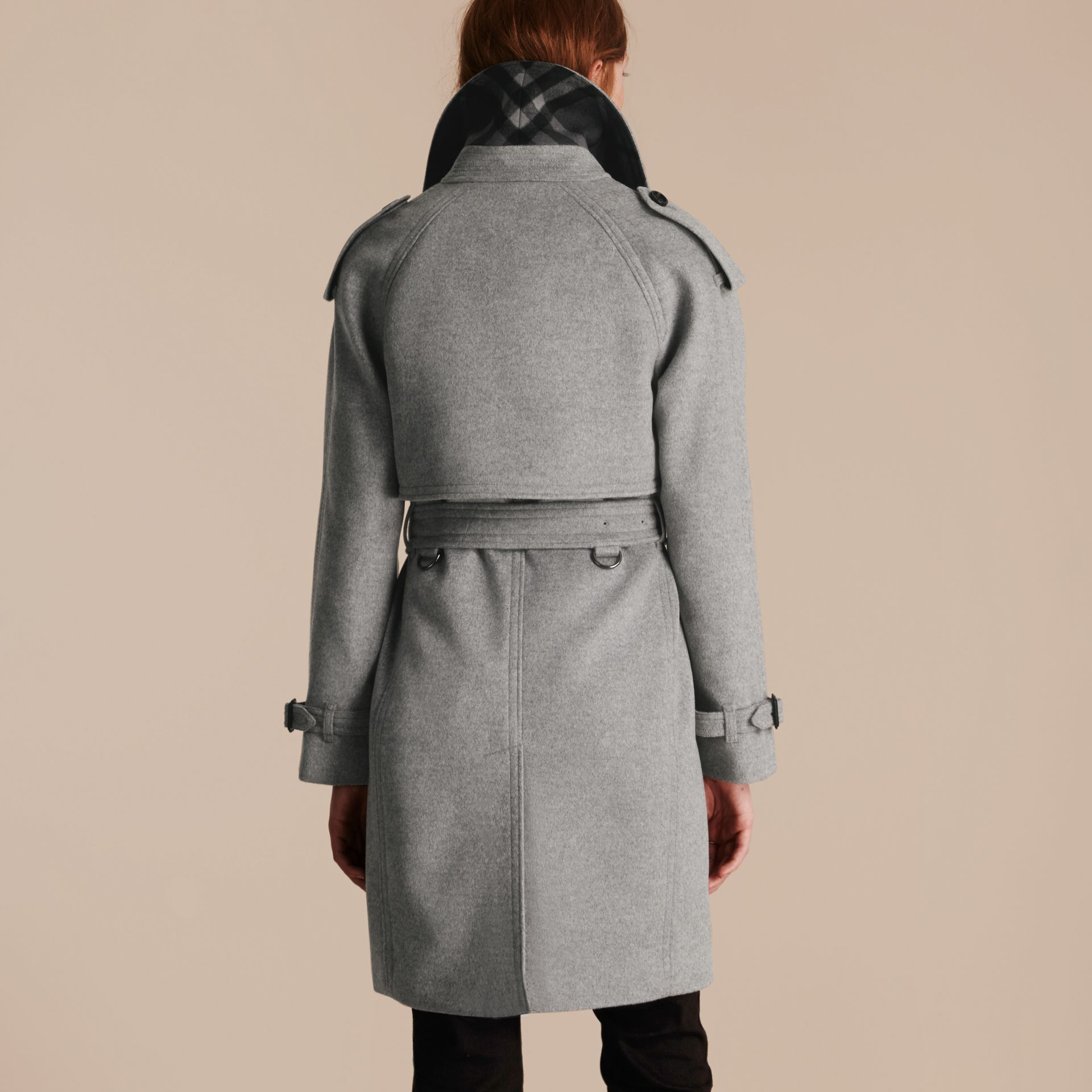 Pale grey melange Wool Cashmere Trench Coat with Oversize Detailing - gallery image 3