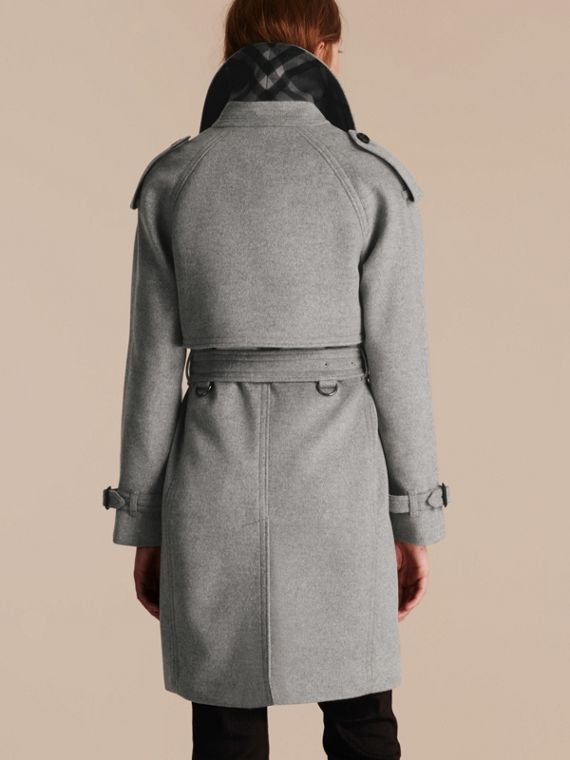 Pale grey melange Wool Cashmere Trench Coat with Oversize Detailing - cell image 2