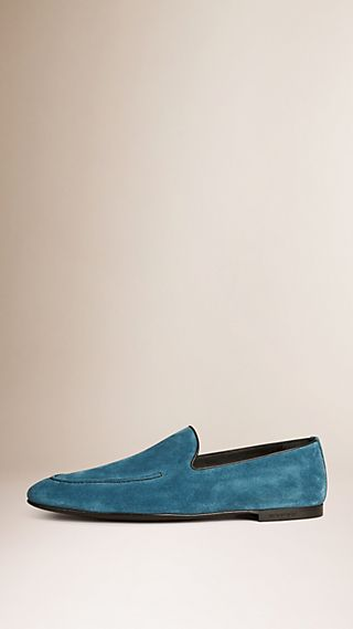 Contrast Stitch Detail Suede Loafers