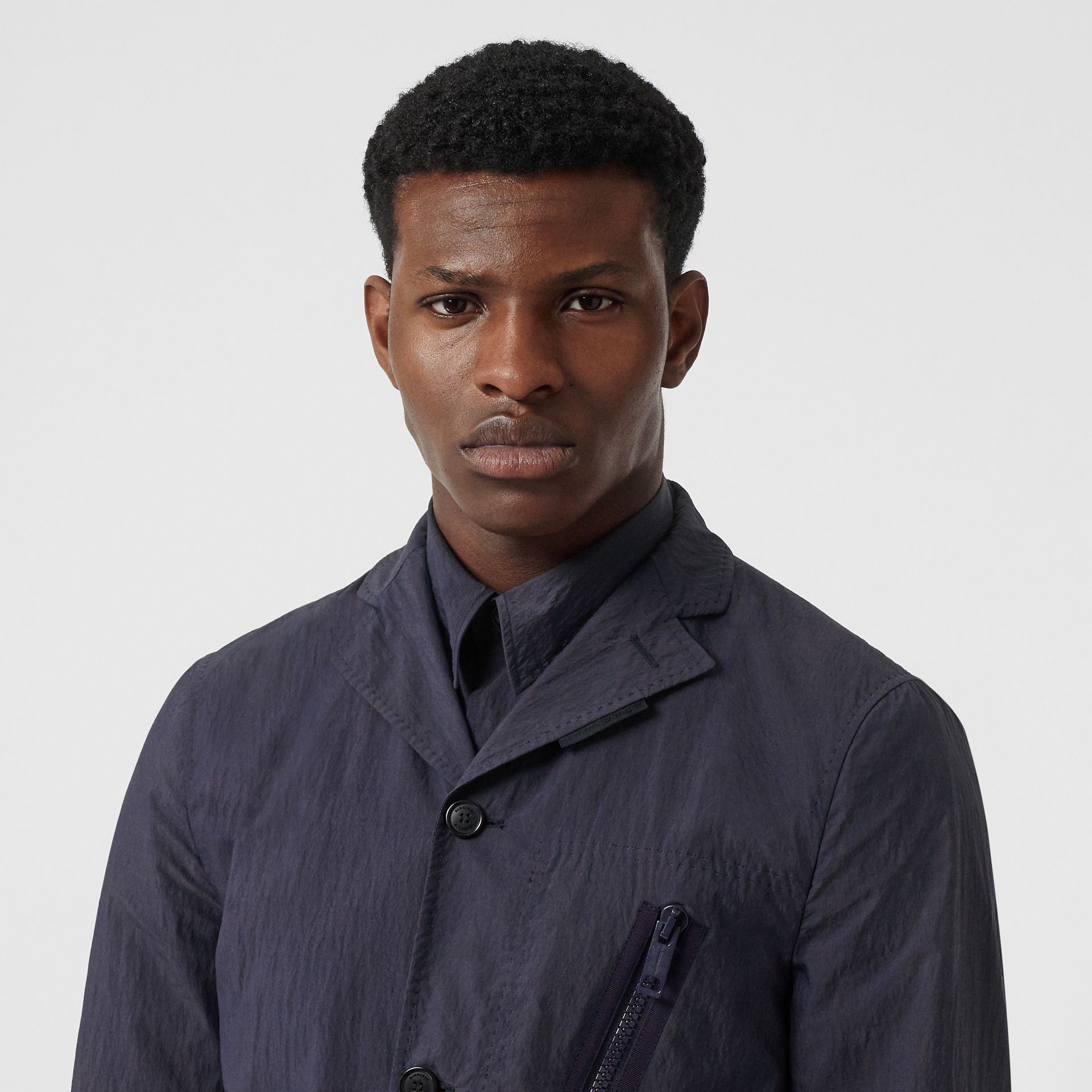 Crinkled Cotton Blend Tailored Jacket in Navy - Men | Burberry - gallery image 6