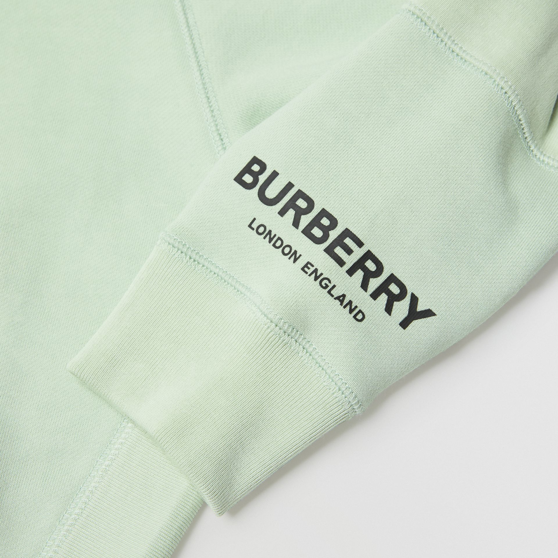 Logo Print Cotton Hooded Top in Pale Mint | Burberry - gallery image 1