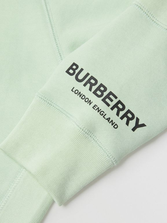 Logo Print Cotton Hooded Top in Pale Mint | Burberry - cell image 1