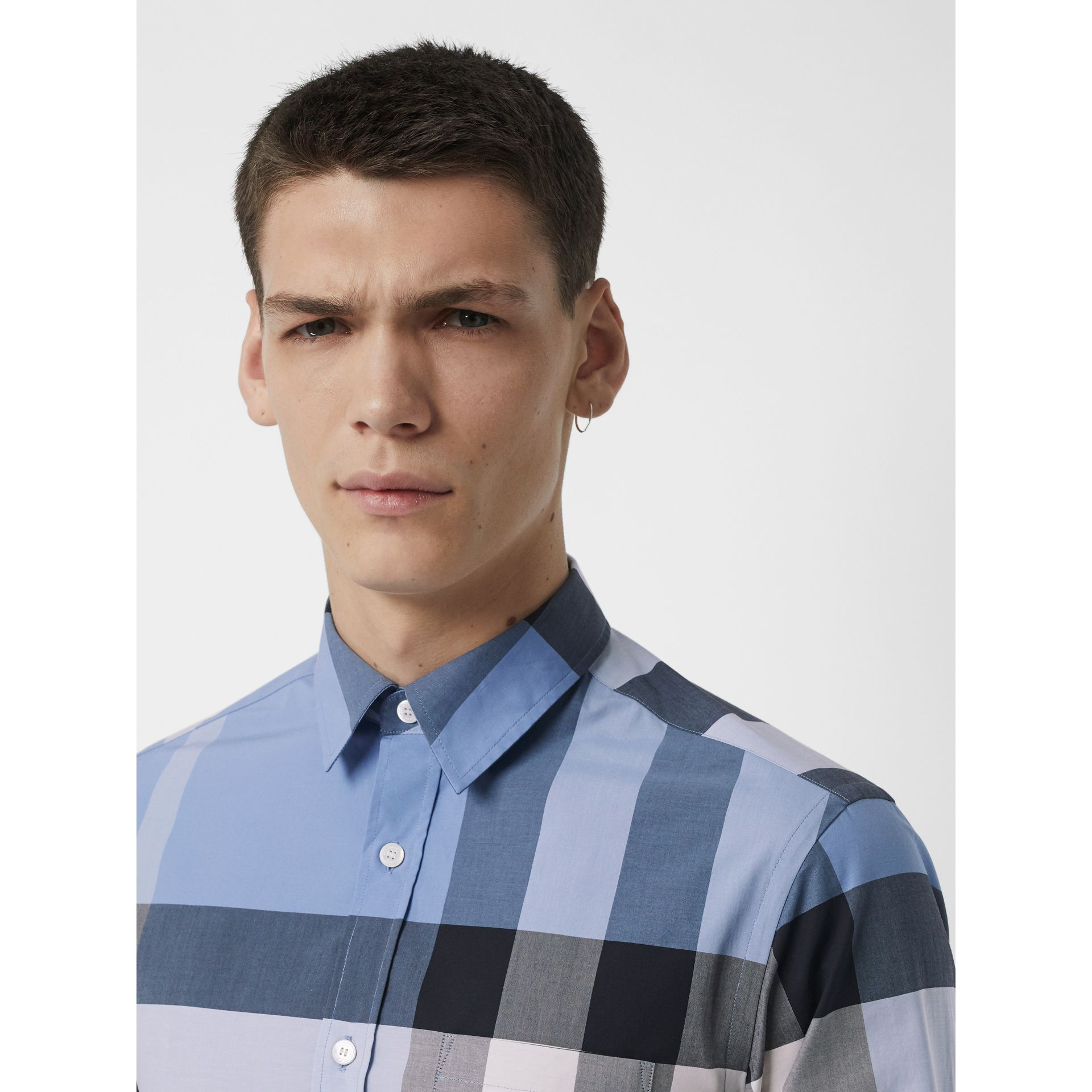 Check Stretch Cotton Shirt in Cornflower Blue - Men | Burberry Singapore - gallery image 1