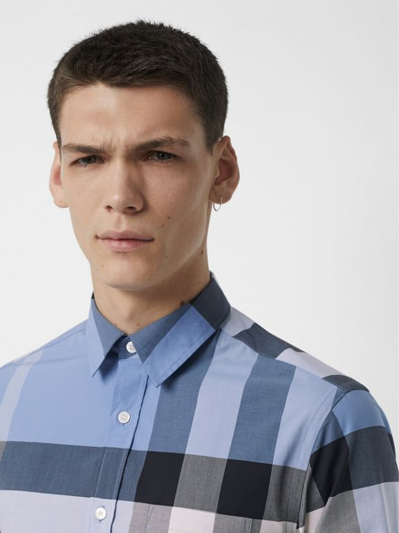 Check Stretch Cotton Shirt in Cornflower Blue - Men | Burberry - cell image 1