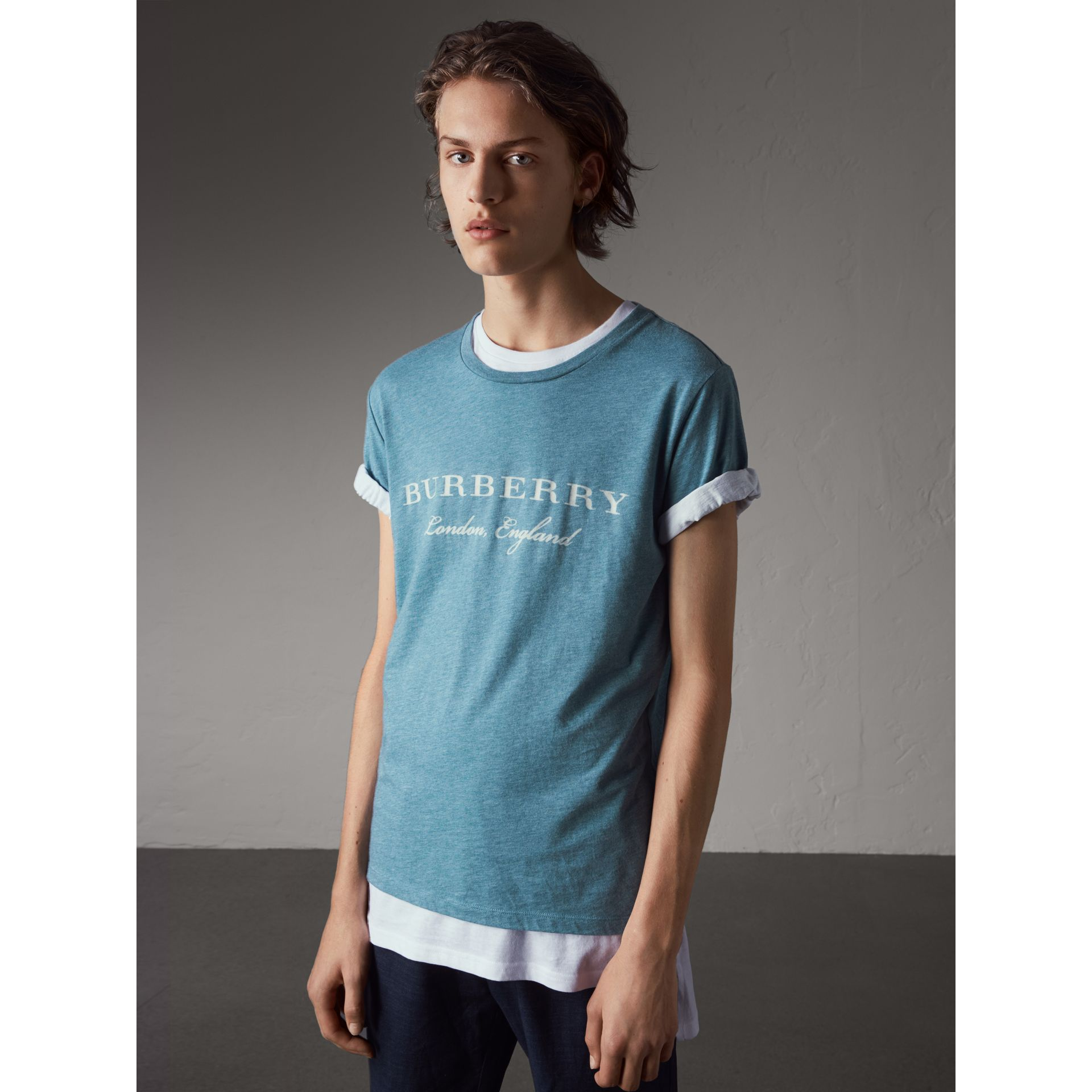 Devoré Cotton Jersey T-shirt in Cyan Blue - Men | Burberry - gallery image 1