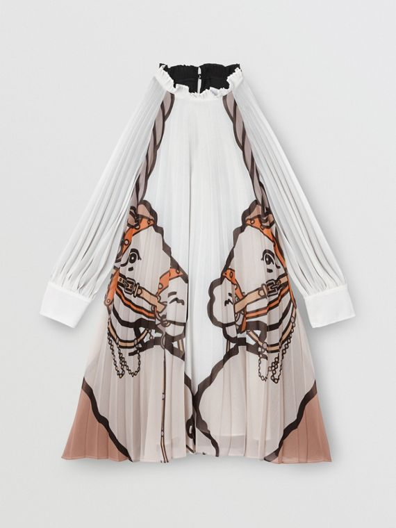 Long-sleeve Unicorn Print Pleated Dress in Black/white