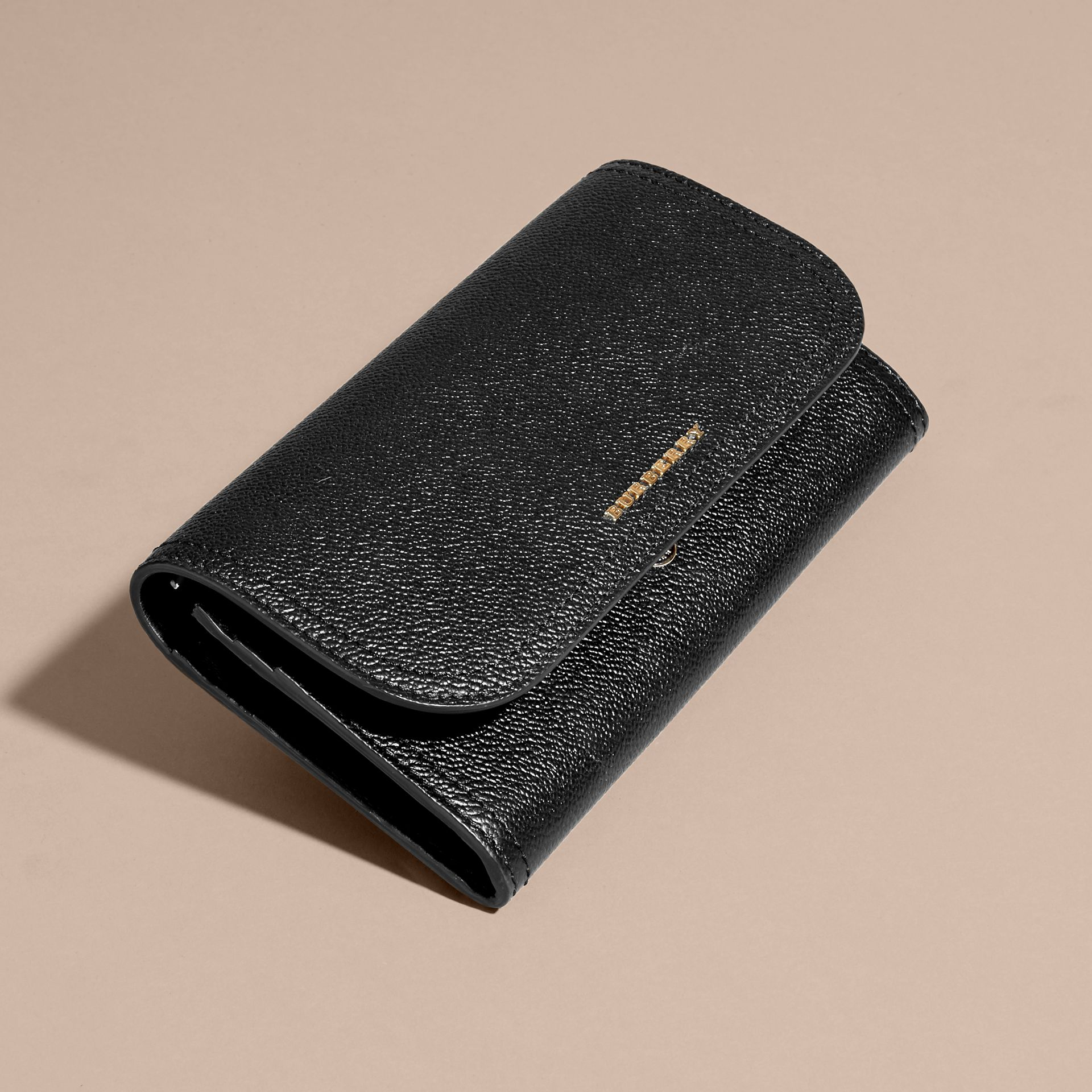 Grainy Leather Slim Continental Wallet in Black - Women | Burberry Australia - gallery image 4