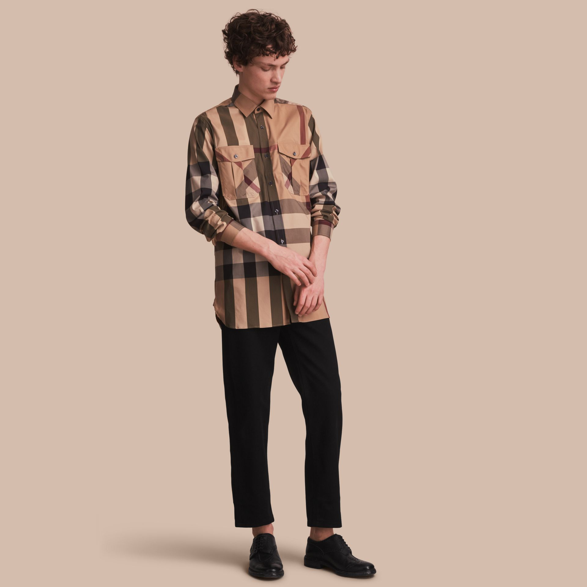 Check Cotton Blend Shirt with Military Detail - Men | Burberry Singapore - gallery image 1