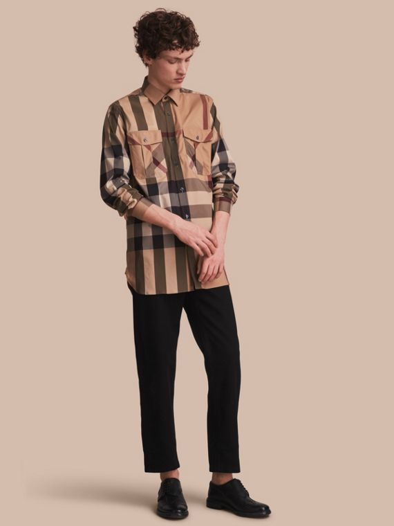 Check Cotton Blend Shirt with Military Detail