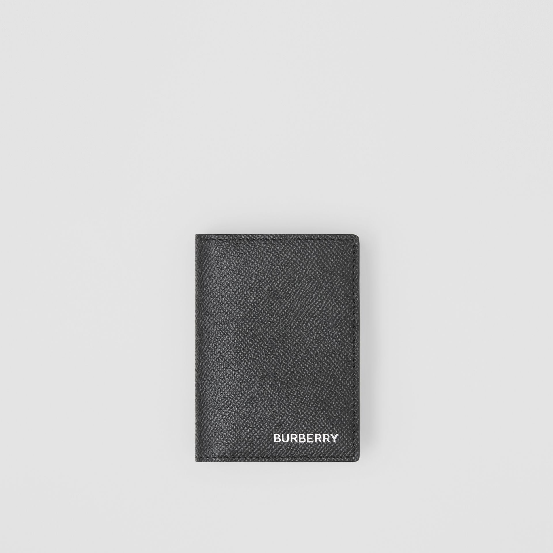 Grainy Leather Folding Card Case in Black - Men | Burberry - gallery image 0
