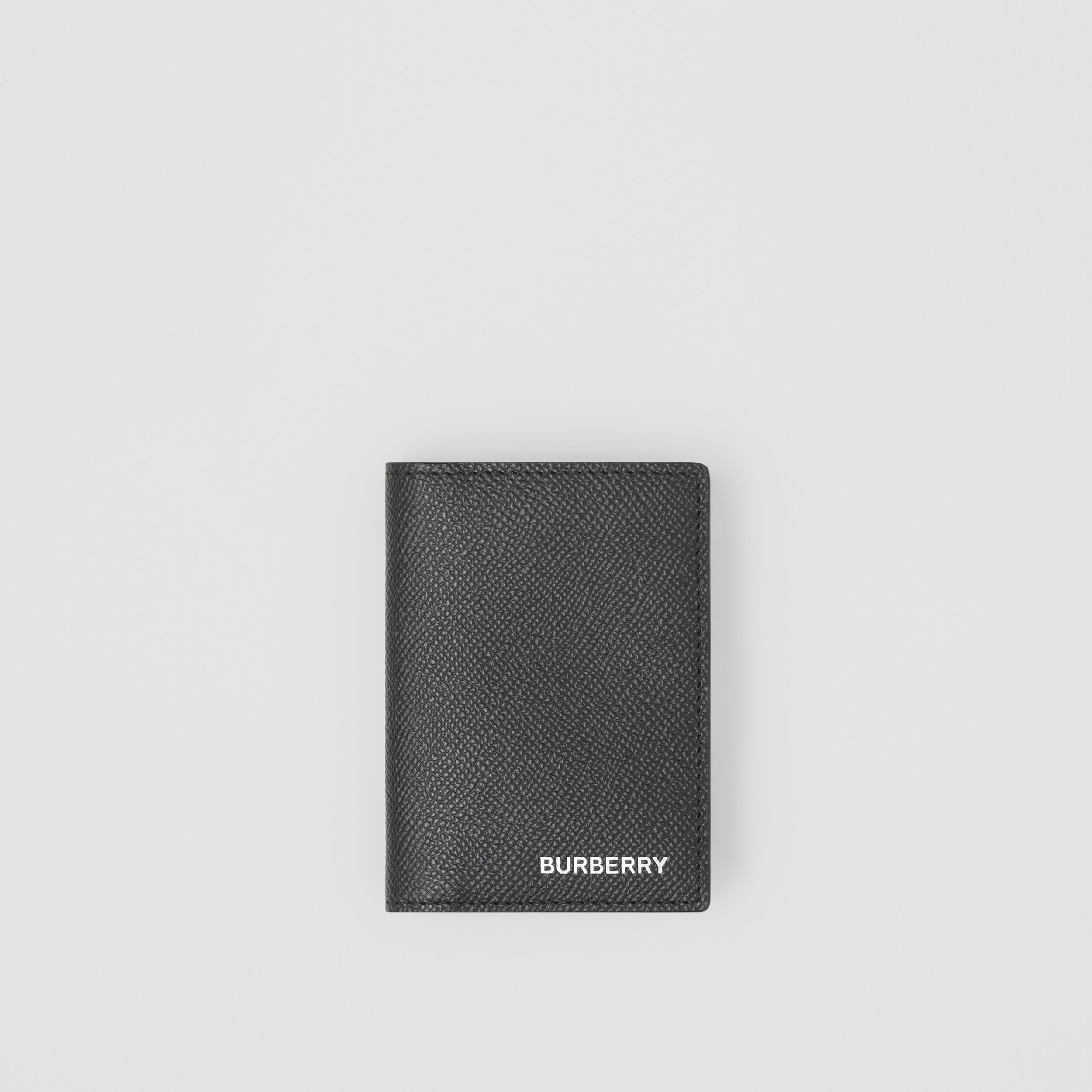 Grainy Leather Folding Card Case in Black - Men | Burberry - 1