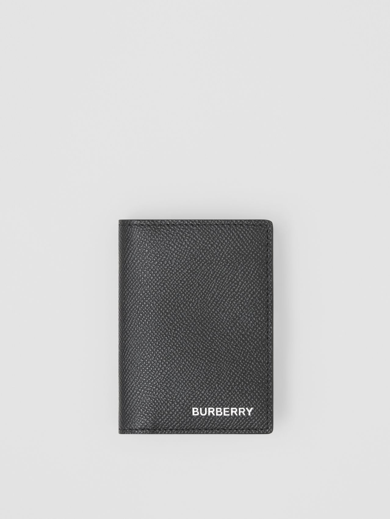 Grainy Leather Folding Card Case in Black
