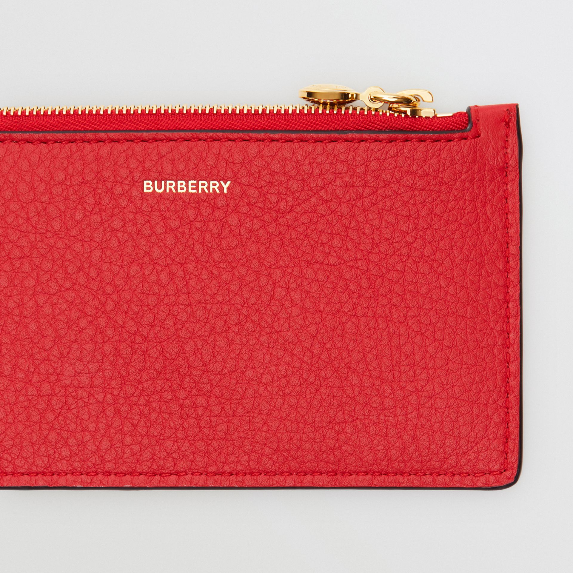 Leather Zip Card Case in Bright Military Red - Women | Burberry Australia - gallery image 1