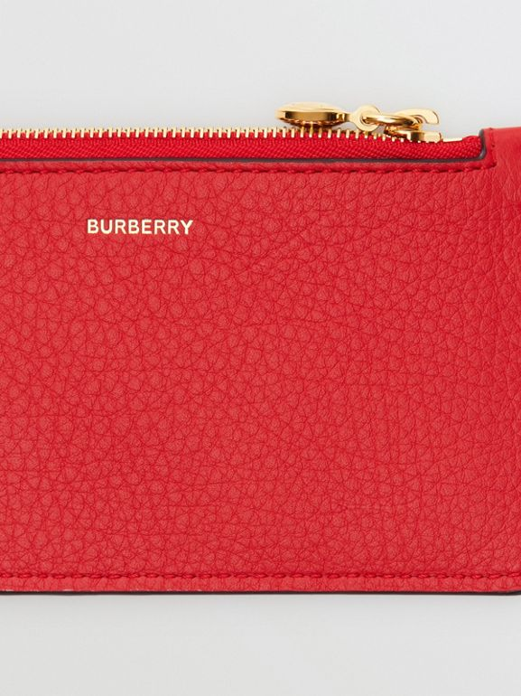 Leather Zip Card Case in Bright Military Red - Women | Burberry Australia - cell image 1