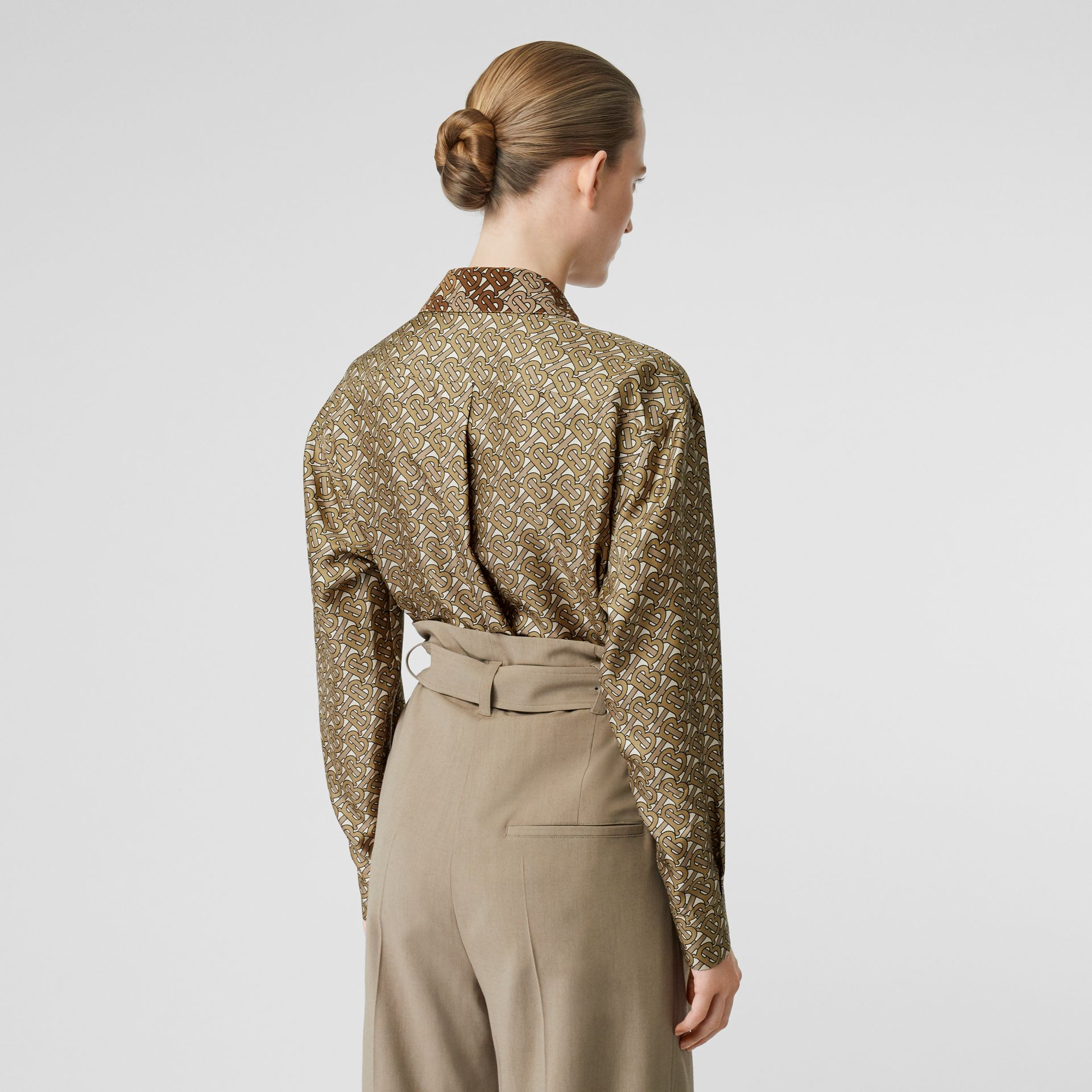 Contrast Collar Monogram Print Silk Shirt in Military Olive - Women | Burberry Singapore - gallery image 2