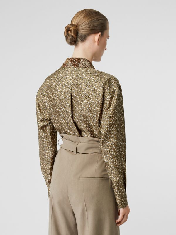 Contrast Collar Monogram Print Silk Shirt in Military Olive - Women | Burberry - cell image 2