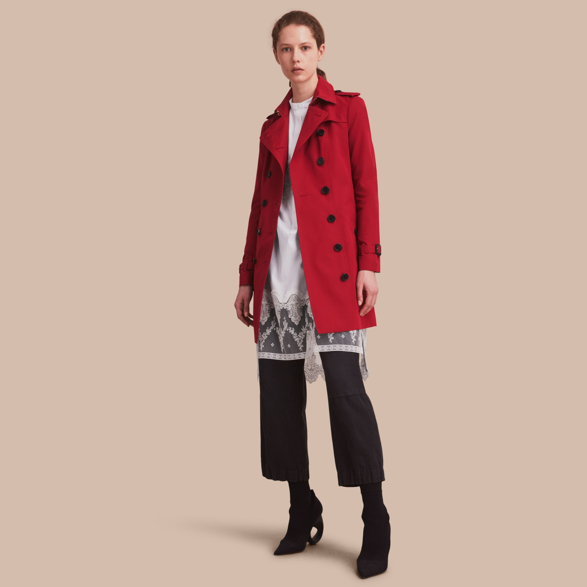 The Sandringham – Mid-length Heritage Trench Coat Parade Red - gallery image 1
