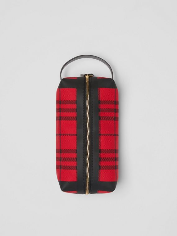 Tartan Cotton Pouch in Military Red