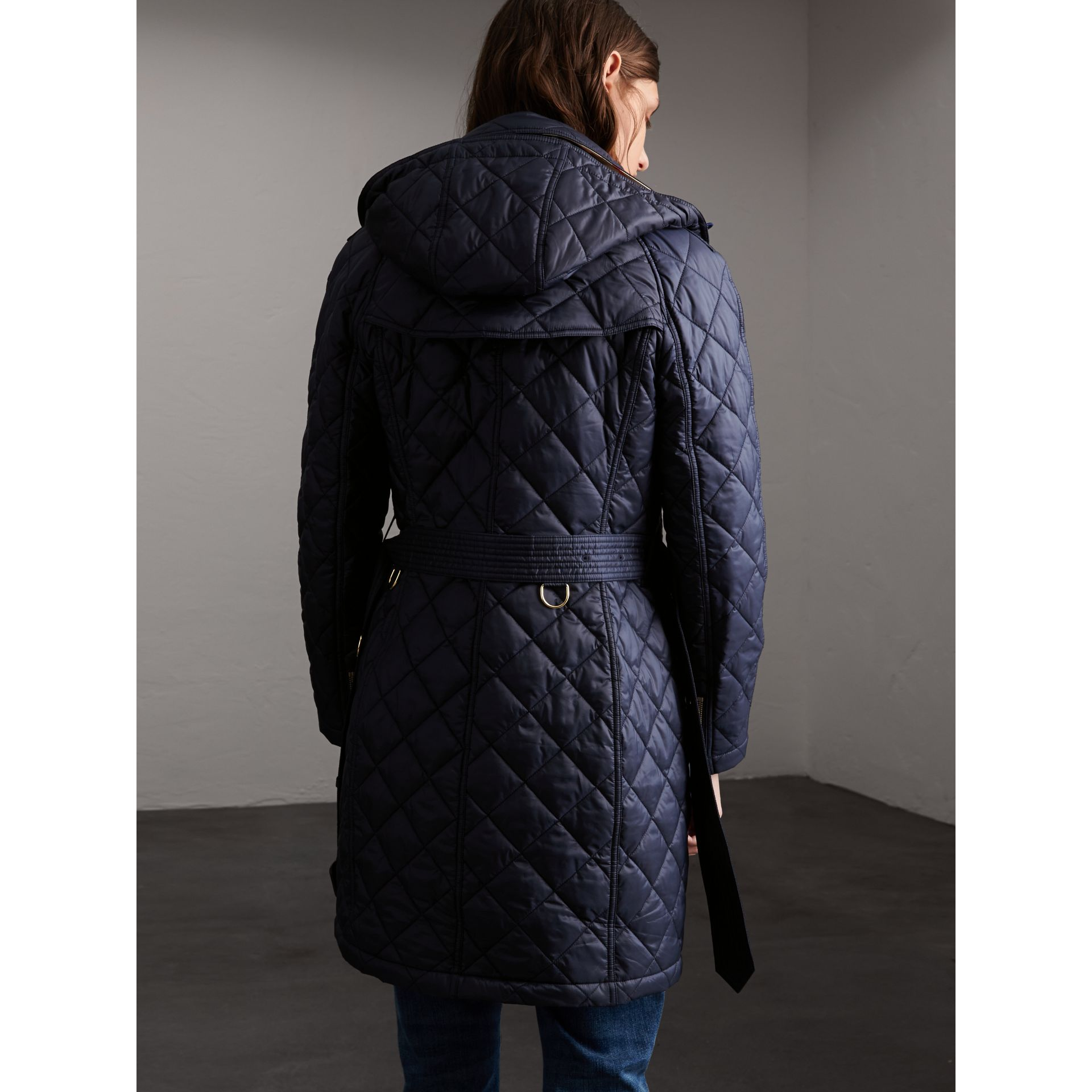 Detachable Hood Quilted Showerproof Parka in Ink - gallery image 2