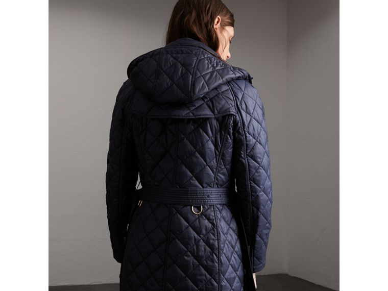 Detachable Hood Quilted Showerproof Parka in Ink - cell image 1
